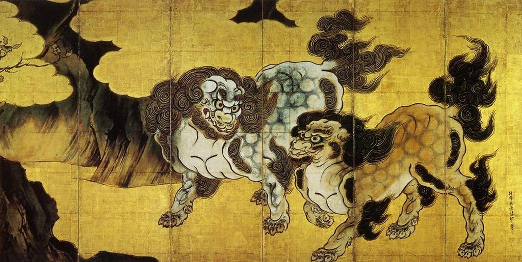 狩野永徳 「唐獅子図」