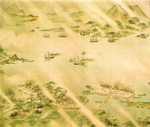 イギリス艦隊と薩摩砲台