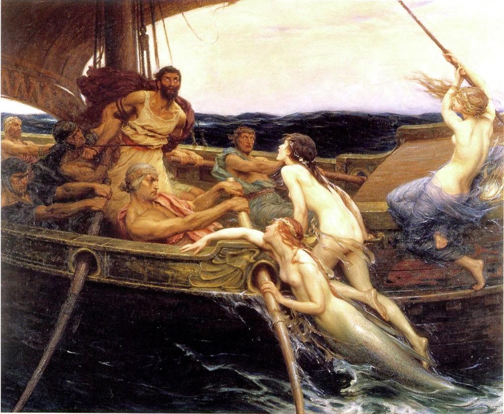 ハーバード・ジェイムズ・ドレイパー作「オデュッセウスとセイレーンたち」