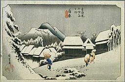 歌川広重-蒲原 夜之雪(東海道五拾三次)